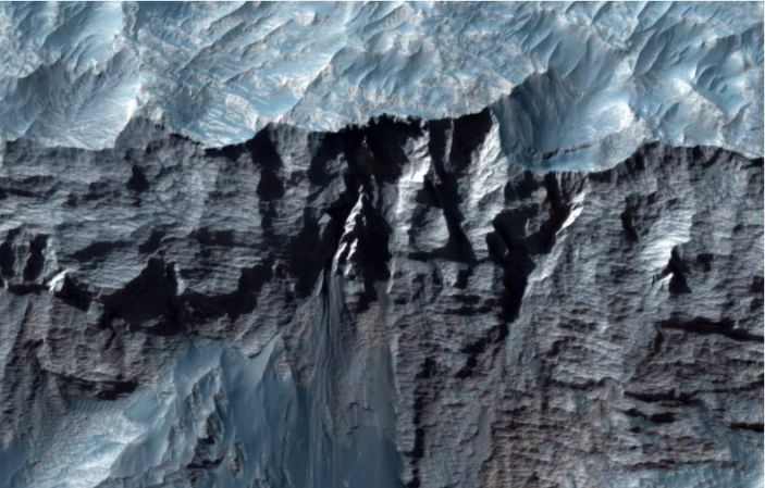 Close-up view of Mars & # 39;  Vallis Marineris, the largest canyon in the solar system.