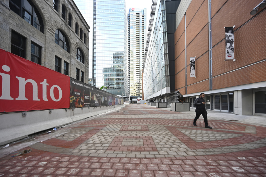 The courtyard is adjacent to the Bell Center