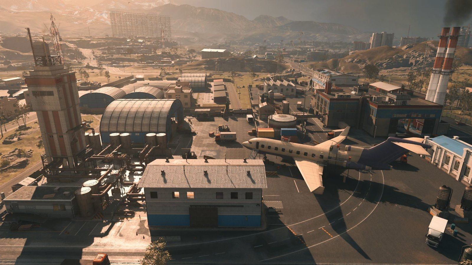 The aircraft factory is located a little to the west