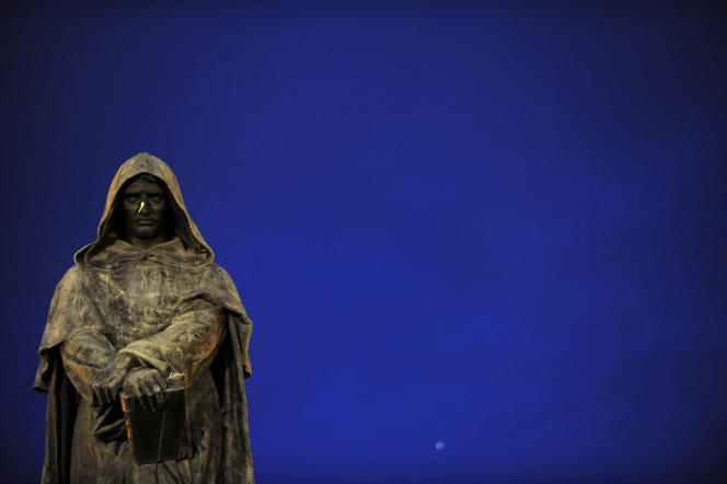 Statue of Giordano Bruno in Rome, erected at the place where a former monk was burned.  The philosopher was among those who insisted that the earth revolves around the sun and that the universe is infinite,
