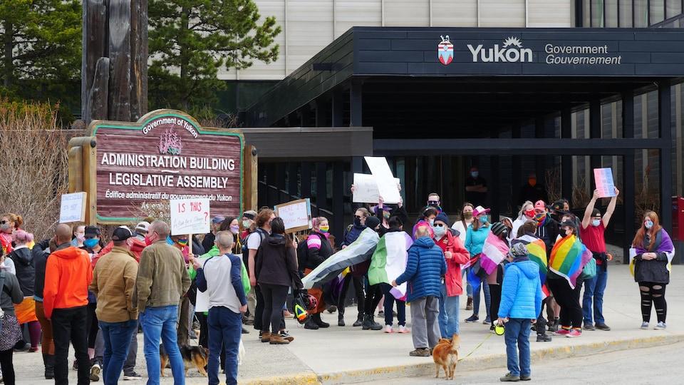 Demonstration in front of the Yukon Legislative Assembly.