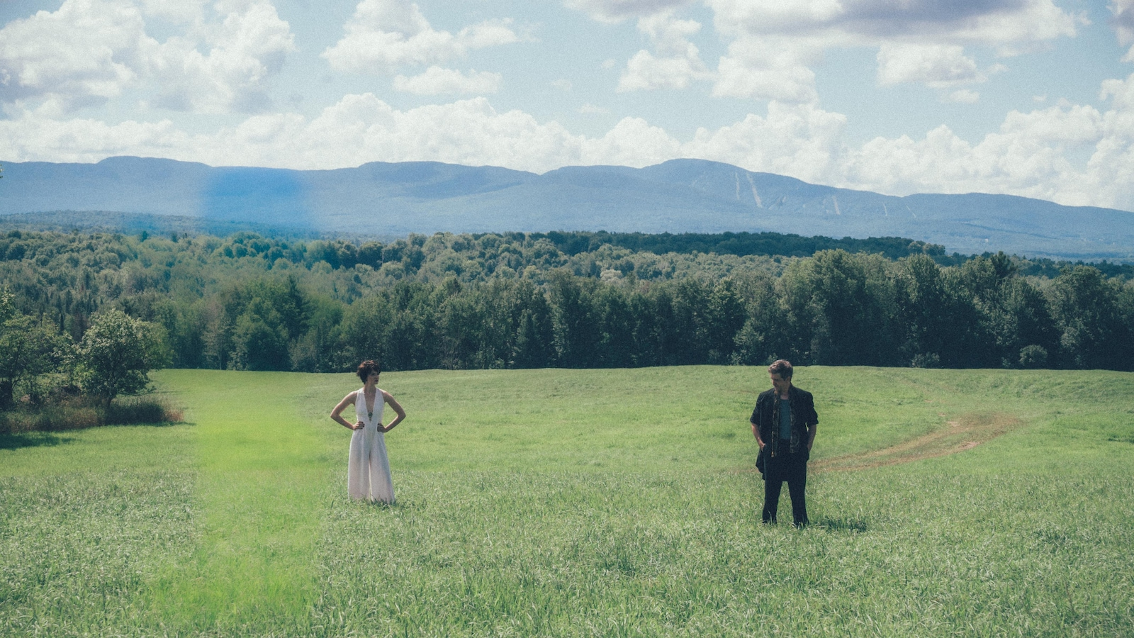A man (Maxim Judit) and a woman in a field far away from each other.
