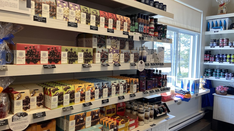 There are many chocolate-based products on the shelves of Chocolaterie des Pères Trappistes.