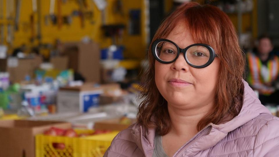 Jenny Kintall at the donation center.