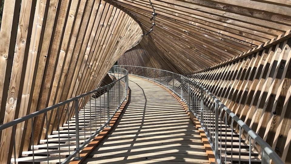 The interior of the structure of Matapedia belvedere