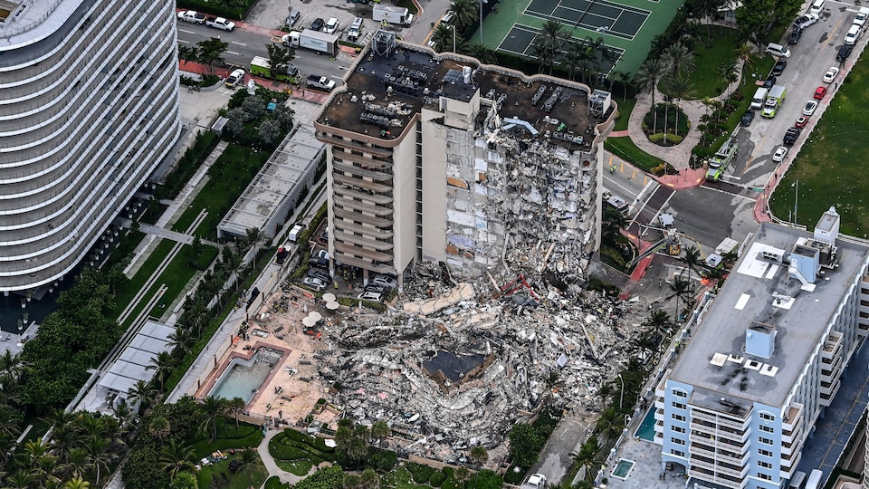 A huge pile of debris is seen from above.
