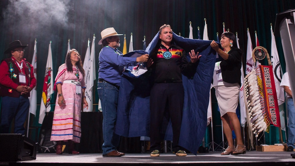 Perry Belgaard is sworn in after being re-elected President of the Assembly of First Nations