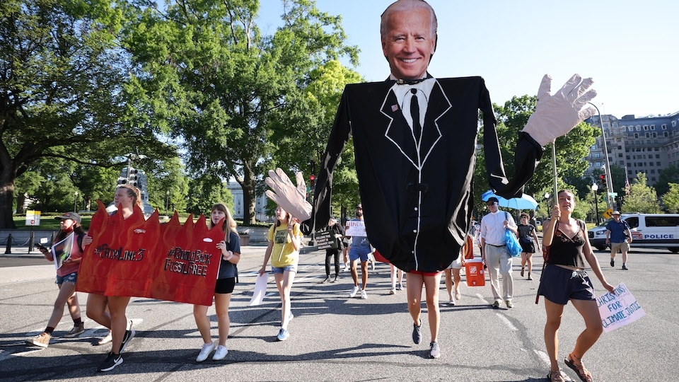 In Washington, protesters called on the Biden administration to invest more in climate change.