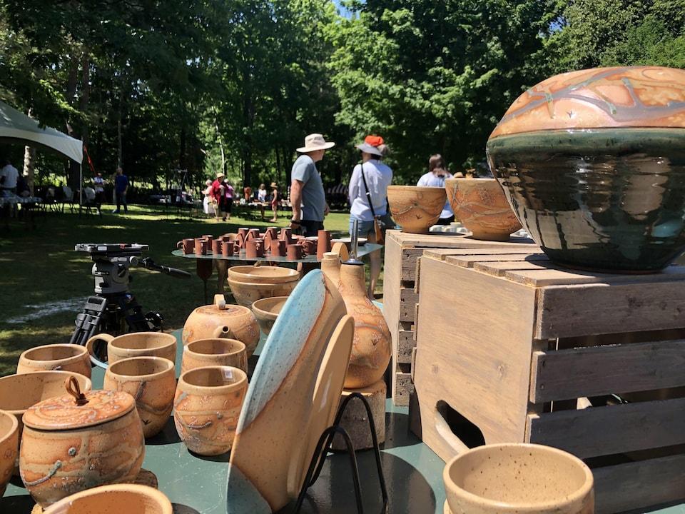 pottery on platforms