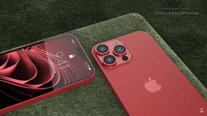 iPhone 13 Pro and Pro Max concept in dark red