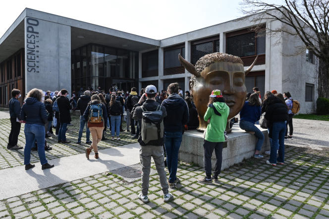 A student demonstration against Islamophobia, in front of the Sciences Po Grenoble building, in Saint-Martin-d'Hères (Isère), March 9, 2021.