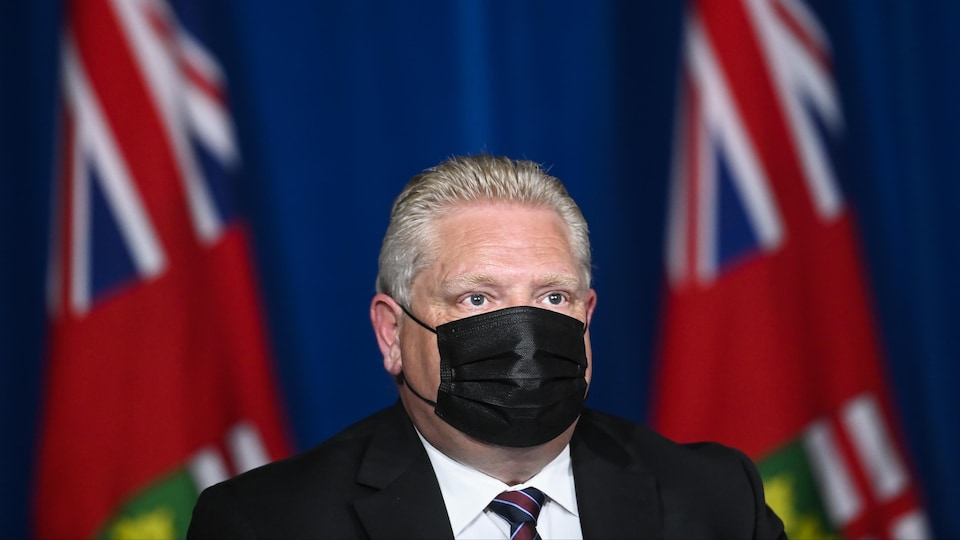 He's at a press conference in front of the Ontario flags and wearing a mask.