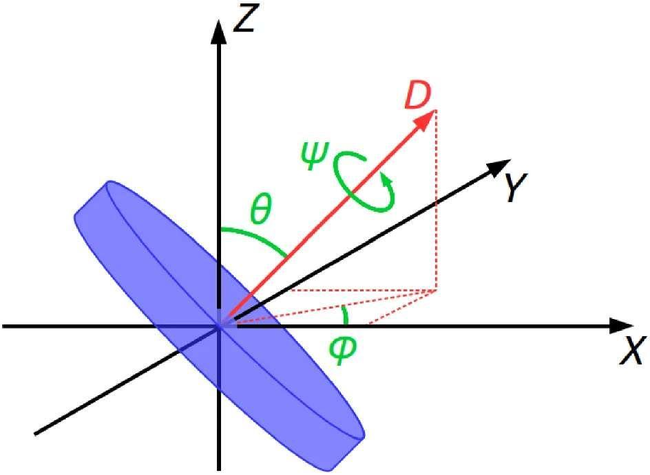 The various forces that the disk is subjected to, with Z: angular momentum, &# x0003b8;  : angle of inclination and D: axis of rotation.