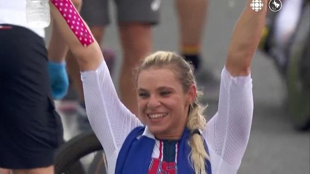 Photo of America's Oksana Masters celebrating her victory.