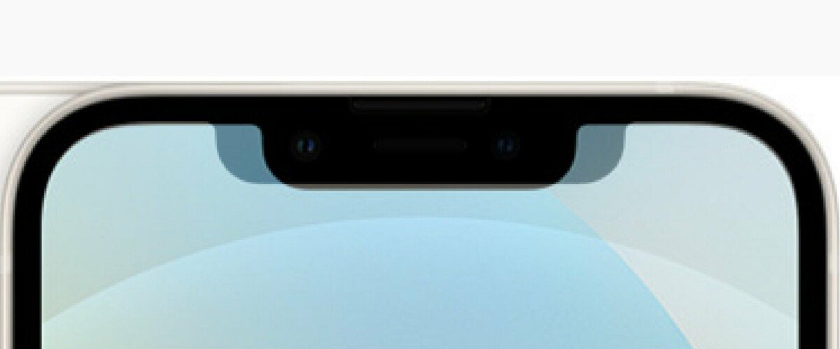 The notch is much narrower compared to the iPhone 12