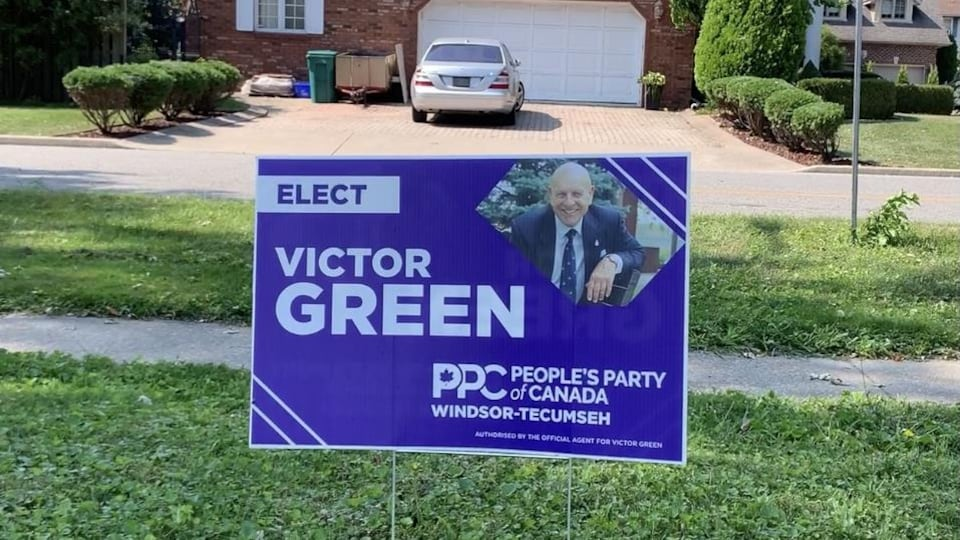Banner for the campaign of Victor Green, the Canadian People's Party candidate in Windsor-Tecumseh.