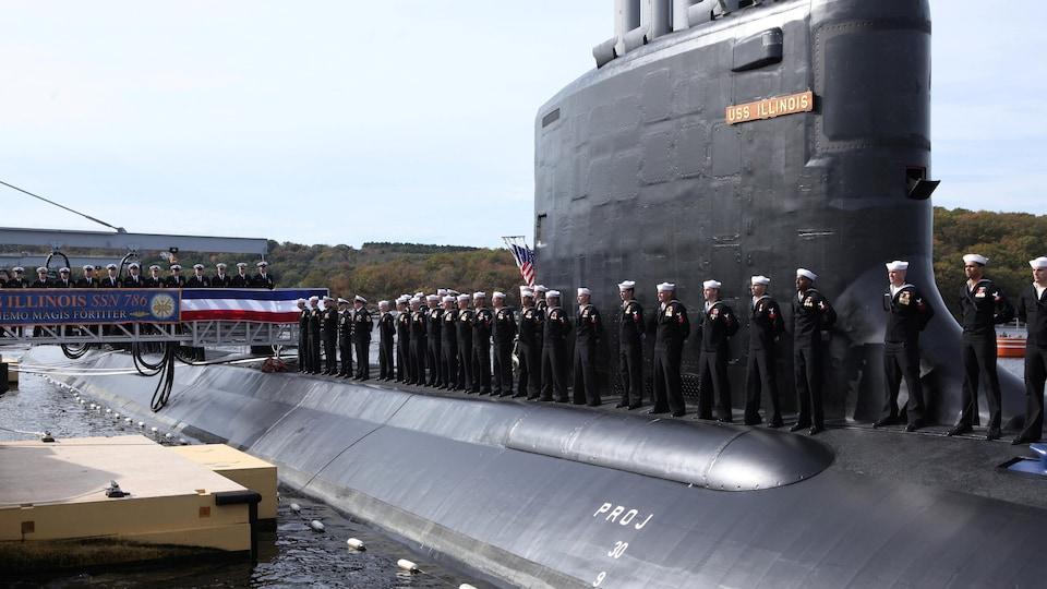 Submarine with crew members.