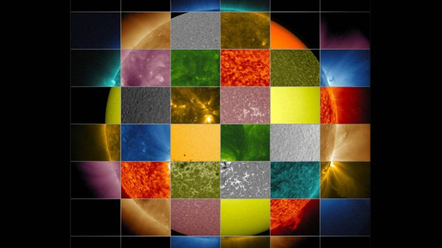 NASA mosaic of the sun taken from fragments of images taken at different wavelengths