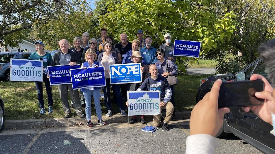 A group of Democratic volunteers prepare to go door-to-door in Leesburg, Virginia.
