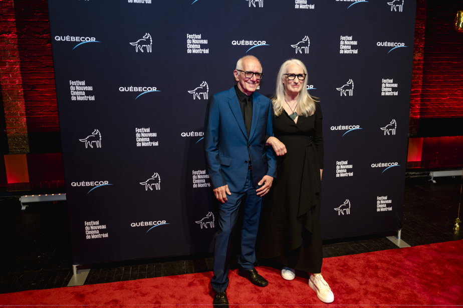Roger Frapper and Jane Campion on the red carpet, during the screening of The Power of the Dog