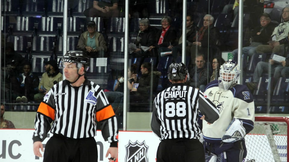 Two QMJHL referees during the Sherbrooke Phoenix game
