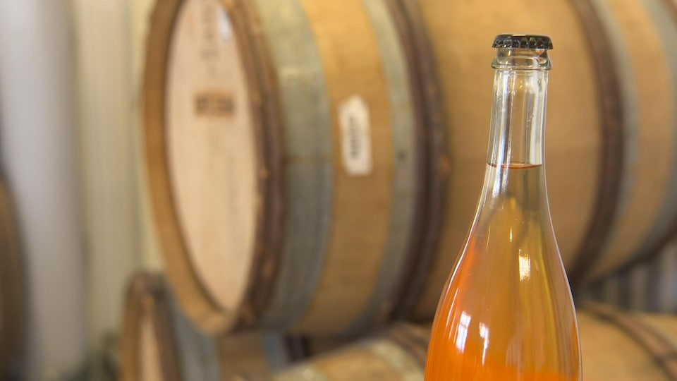 Apple juice bottle.
